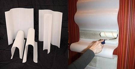 Una buena idea: estantes integrados en papel pintado