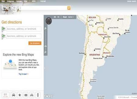 Bing Maps: una opción en mapas web sorprendente