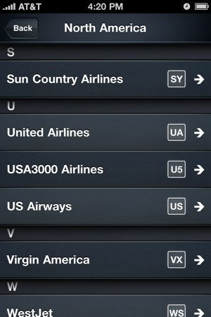 Selección de aerolínea en Jets