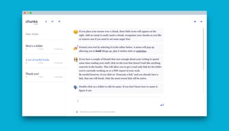 """Chunks, una webapp para escritores y no escritores que te invita a tomar tus notas """"por pedacitos"""""""