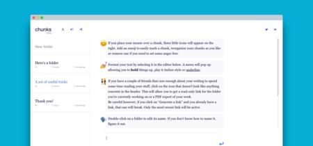 Chunks, una webapp para escritores y no escritores que te invita a tomar tus notas