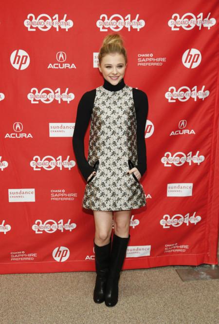 Festival Sundance 2014 premiere Laggies Chloe Moretz vestido dorado