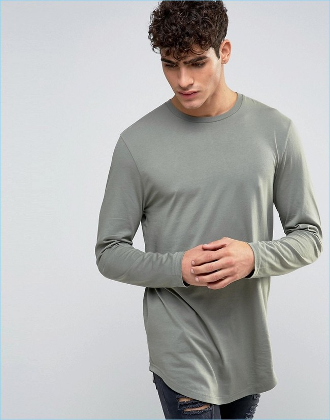 Asos Super Longline Long Sleeve T Shirt Curved Hem Green