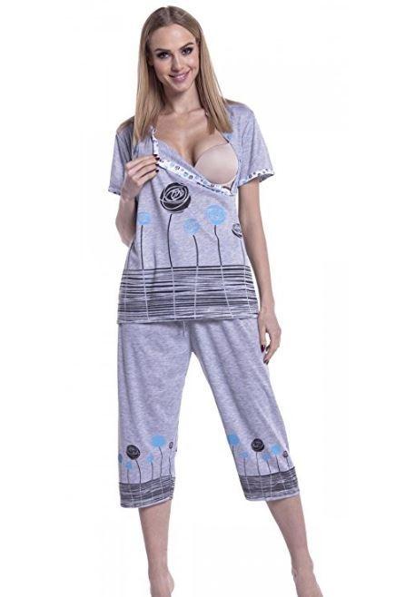 Pijama Gris Flores