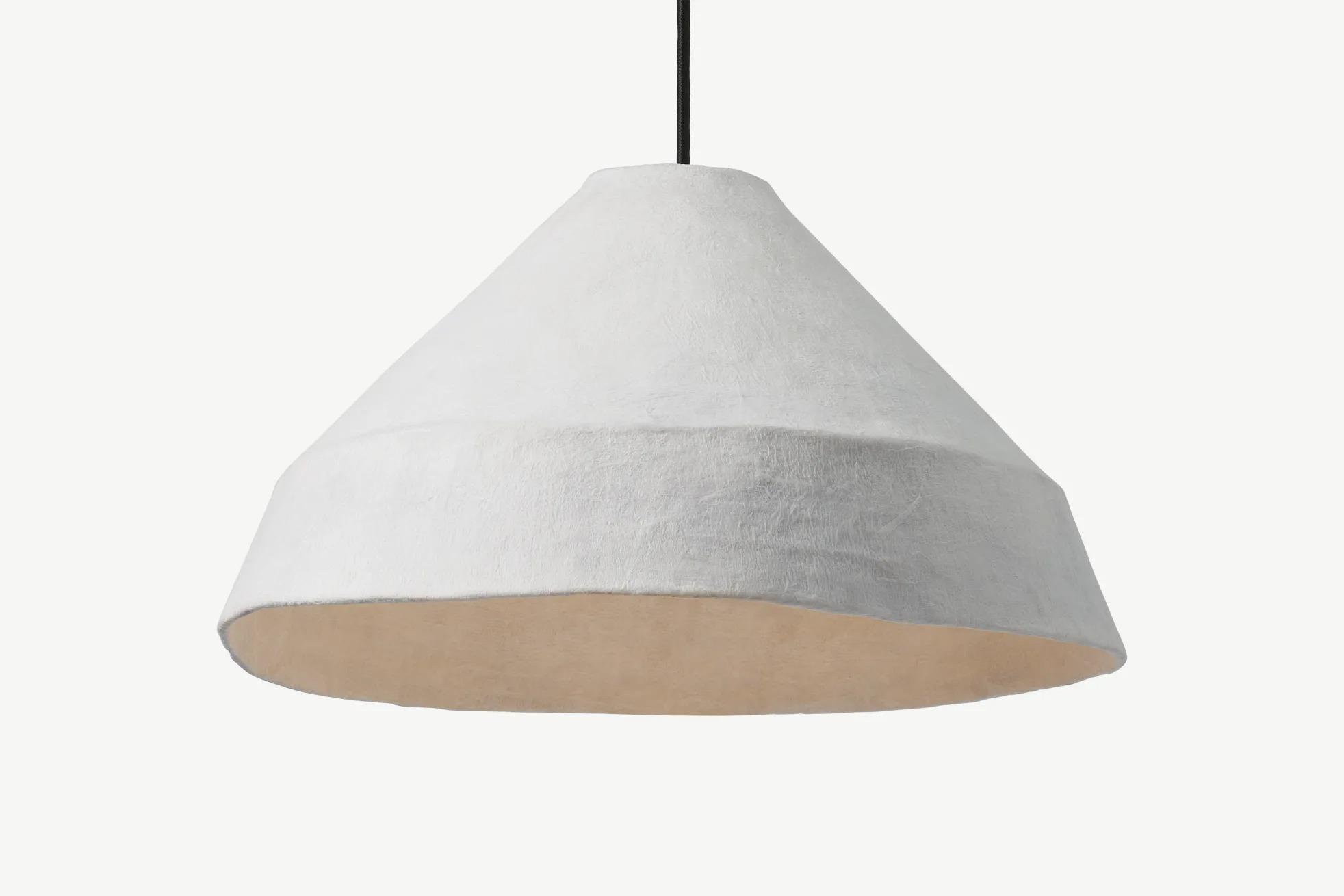 Pantalla de lámpara Dahlia, papel maché blanco