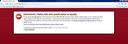 Sitio malicioso detectado por Chrome