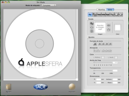 Imprime discos Lightscribe en Mac OS X
