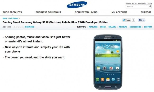 Samsung Galaxy SIII Developer Edition