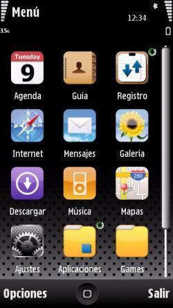 iPhone 5th, tema iPhone para el Nokia 5800