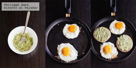 Muffin inglés con huevo y aguacate. Receta fácil para el desayuno