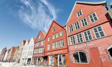 Bryggen en invierno, Bergen, Noruega