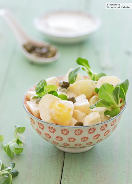 Ensalada de patata con alcaparras y aliño de salsa Perrins. Receta