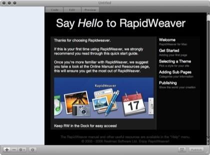 rapidweaver pantalla inicial