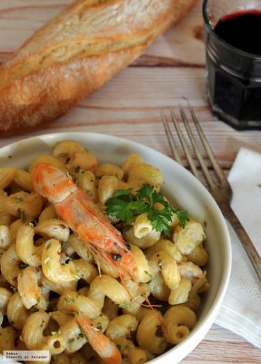 Amorelli con langostinos y su crema: receta sencilla de pasta