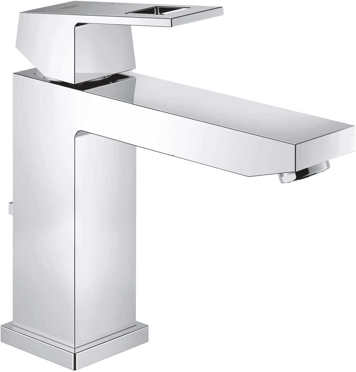 Grohe Eurocube - Grifo de lavabo con tecnología de ahorro de agua y limitador ecológico de caudal, tamaño M (Ref.23445000)