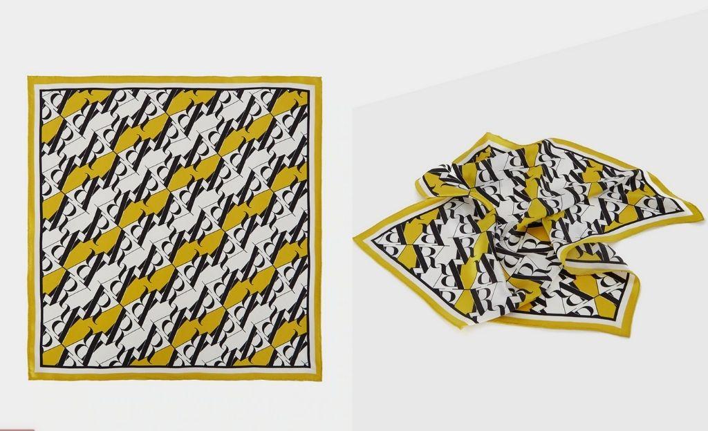 Pañuelo de mujer de seda amarillo estampado RV