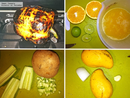 Preparacion Sopa Mango Y Pimiento