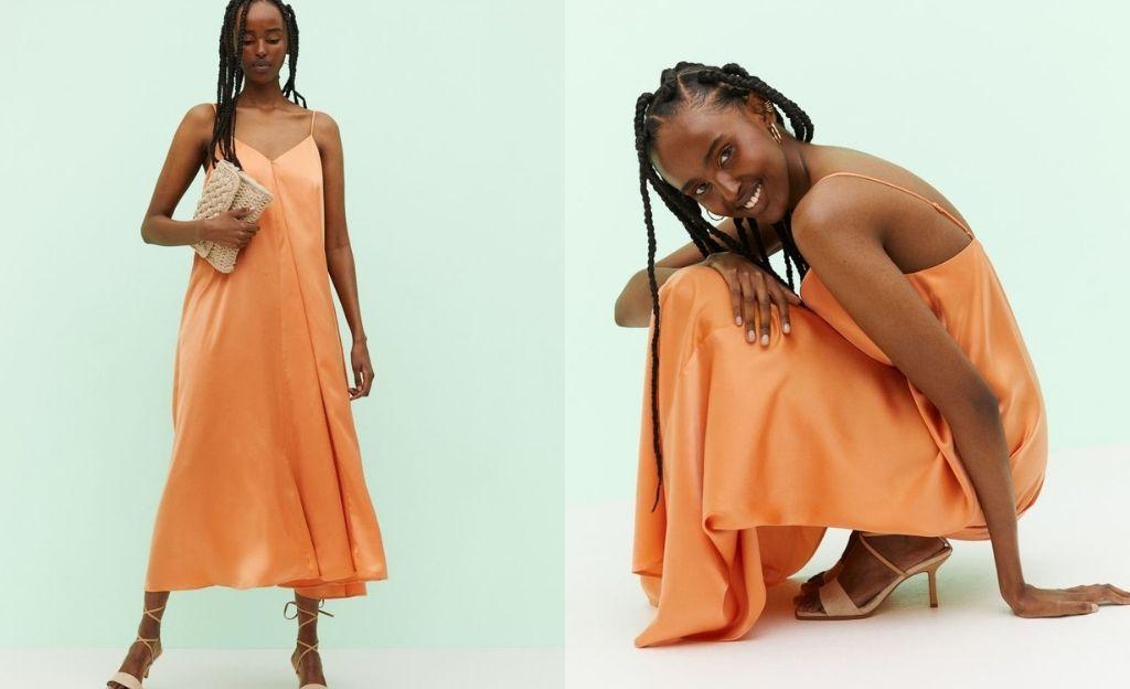 Vestido lencero satinado naranja
