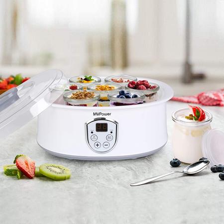 Yogurtera Con Termostato Ajustable Y Temporizador 8 Tarros De 180ml Mvpower Maquina Para Yogur Natural Con Pantalla Lcd