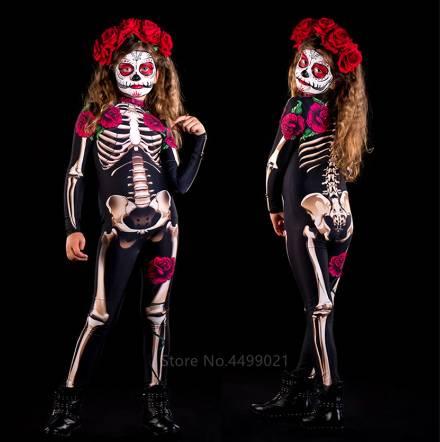 Disfraz aterrador para niños y adultos con esqueleto de rosa, vestido de Halloween, mono Sexy para mujer, fiesta de carnaval, peleles para niñas, Día de los muertos.