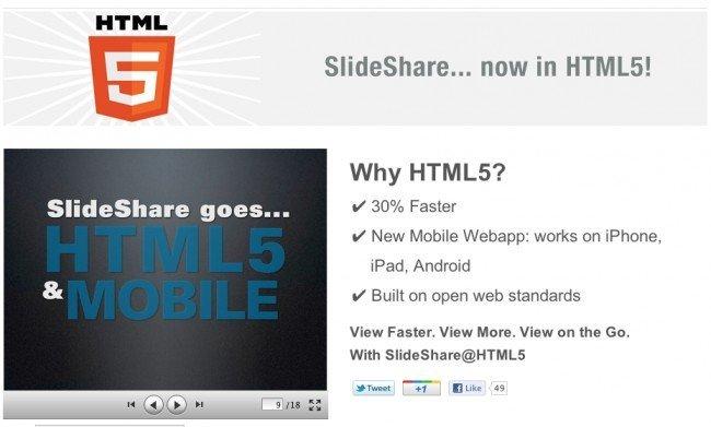 SlideShare se pasa a HMLT5 y le dice adiós a Flash