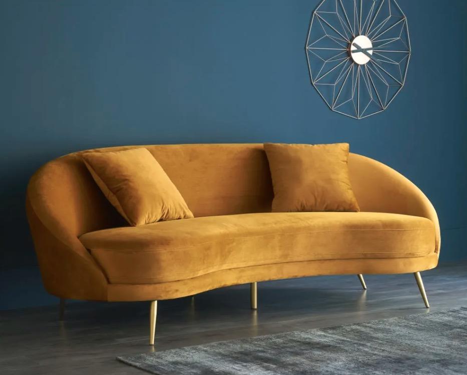 Sofá vintage de 3/4 plazas de terciopelo amarillo Glover