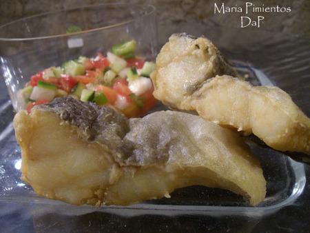 Bacalao frito con pipirrana. Receta