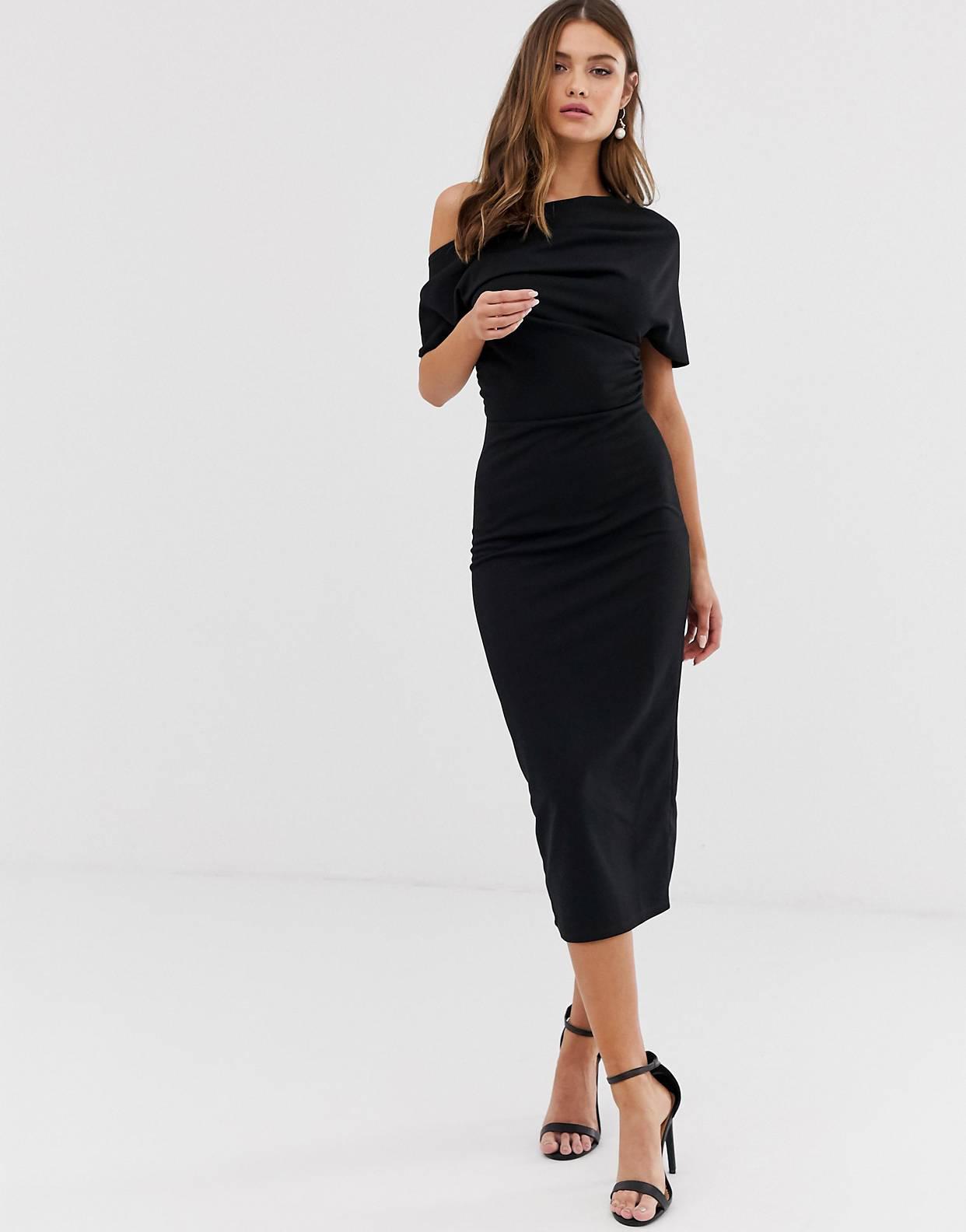 Vestido midi negro Asos Design
