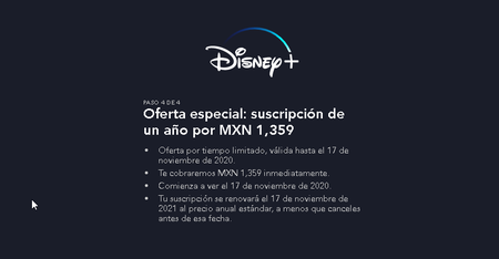 Precio de Disney Plus México Promoción especial Suscripción anual Un año