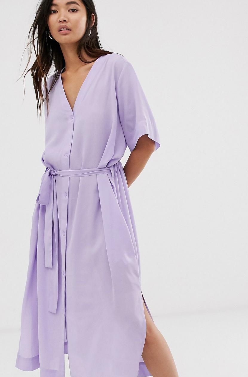 Vestido midi lila con lazo a la cintura de Weekday