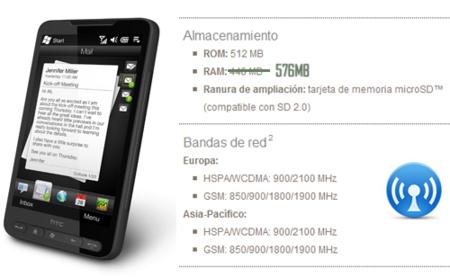 HTC HD2, ¿todas las versiones tienen 576MB de RAM?