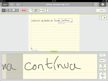 Note Taker HD, inserción contínua de texto