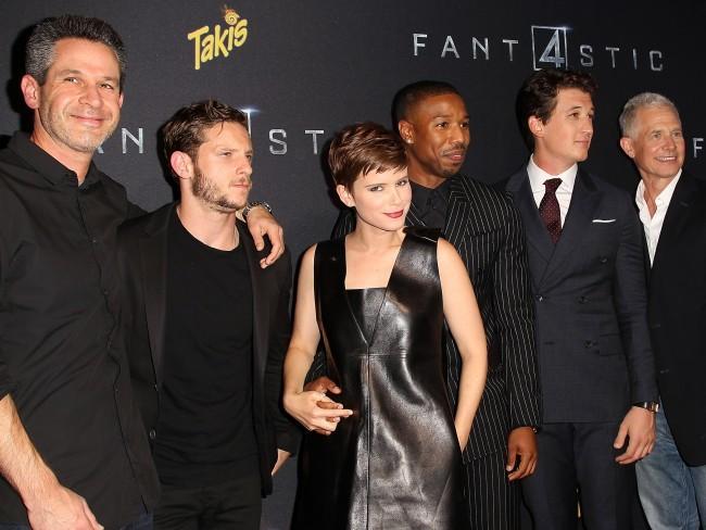 Los productores y los protagonistas de Cuatro Fantasticos en la premiere del film