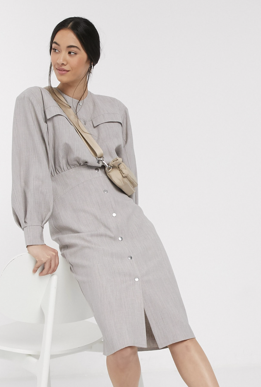 Vestido camisero midi casual texturizado con botones de presión en gris de ASOS DESIGN Premium
