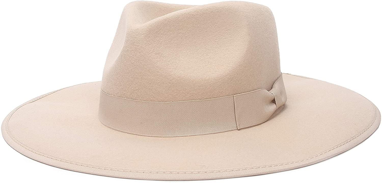Jelord - Sombrero de Fieltro Sombrero Fedora Mujer Sombrero de Lana 100% ala Ancha Sombrero Panama Hombre Primavera Otoño Inviereno
