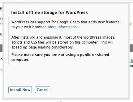 Wordpress 2.6 incluirá soporte para escribir offline con Google Gears