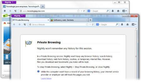 Firefox trabaja en la navegación privada independiente por ventanas