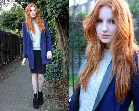 azul abrigo Moda en la calle