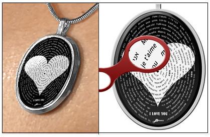 """San Valentín: Colgante que dice """"te amo"""" en varios idiomas"""
