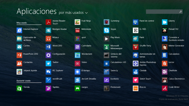 Pantalla de aplicaciones de Windows 8.1