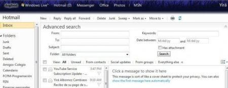 Búsqueda avanzada en Hotmail