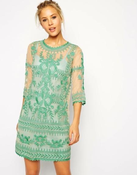 vestidos asos bordados verde