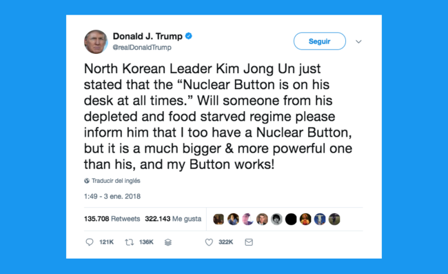 Donald J Trump En Twitter 22north Korean Leader Kim Jong Un Just Stated That The Nuclear Button Is On His Desk At All Times 2018 01 03 14 26 06
