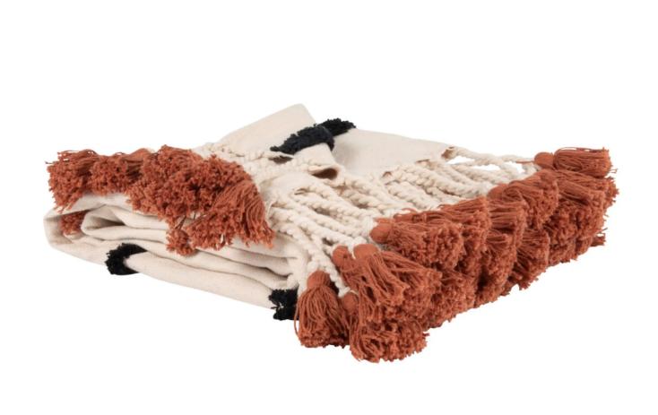 Manta de algodón beige con estampado gráfico marrón