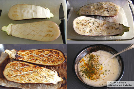 Berenjenas asadas con salsa de yogur y cerezas. Pasos