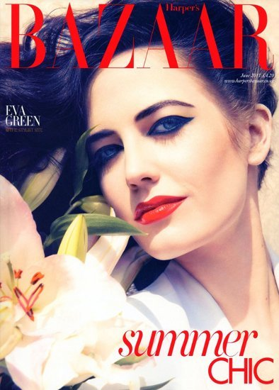 Eva Green con un maquillaje intenso para la portada de Harper's Bazaar UK