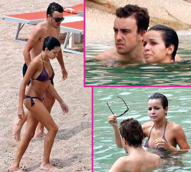 Raquel del Rosario y Fernando Alonso disfrutan de la playa con caras mustias
