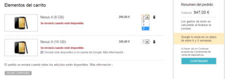 Límite de Nexus 4