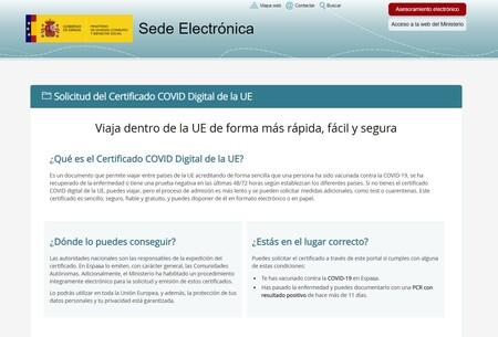 Web del Ministerio de Sanidad para la solicitud del Certificado COVID Digital de la UE