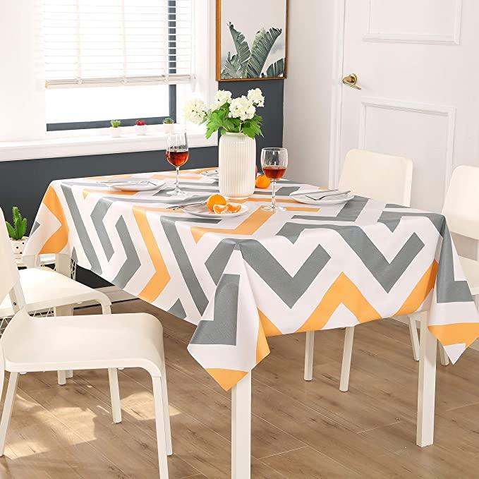ENCOFT Manteles de Plástico Rectangular PVC Impermeable Mantel para Mesa Comedor Cocina Antimanchas Hules para Mesas Patrón Raya Amarillo Gris Blanco 137x220cm